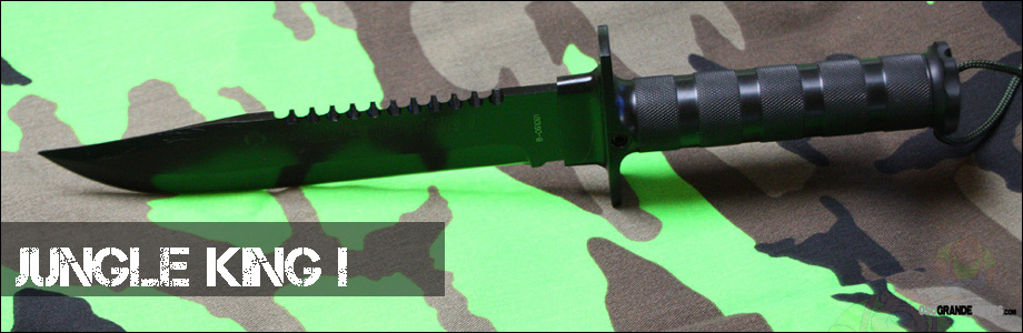 The Aitor Jungle King I is a fixed blade tactically designed combat knife that includes a mini survival kit.