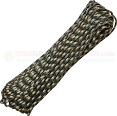 Forest Camo 550 Paracord (Type III Mil Spec 7 Strand 550 Lbs. Parachute Cord) 100 ft. Hank Made in USA RG1030H