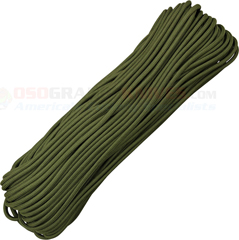 Camo Green 550 Paracord (Type III Mil Spec 7 Strand 550 Lbs. Parachute Cord) 100 ft. Hank Made in USA RG1060H