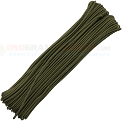 OD Green Tactical Paracord (100 ft. x 3/32 in. 4 Strand 275 Lbs. Test Nylon Parachute Cord) Made in USA RG1153