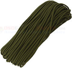 OD Green MIL-C-5040 Type III 550 Paracord (7 Strand 3-Ply Twisted 550 Lbs. Parachute Cord) 100 ft. Hank Made in USA RG1165H