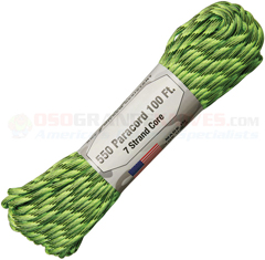 Radioactive 550 Paracord (Type III Mil Spec 7 Strand 550 Lbs. Parachute Cord) 100 ft. Hank Made in USA RG1179H