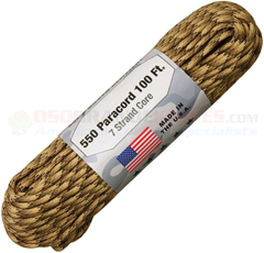 Viper 550 Paracord (Type III Mil Spec 7 Strand 550 Lbs. Parachute Cord) 100 ft. Hank Made in USA RG1201H