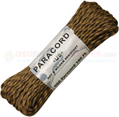FDE Camo 550 Paracord (Type III Mil Spec 7 Strand 550 Lbs. Parachute Cord) 100 ft. Hank Made in USA RG1209H
