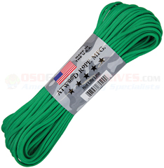 Green 550 Paracord (Type III Mil Spec 7 Strand 550 Lbs. Parachute Cord) 100 ft. Hank Made in USA RG1218H