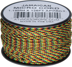 Jamaican Micro Cord Nylon Braided Parachute Cord (125 Feet x 1.18 mm Diameter) Made in USA RG1266