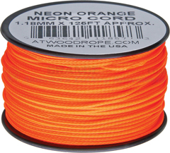 Neon Orange Micro Cord Nylon Braided Parachute Cord (125 Feet x 1.18 mm Diameter) Made in USA RG1283