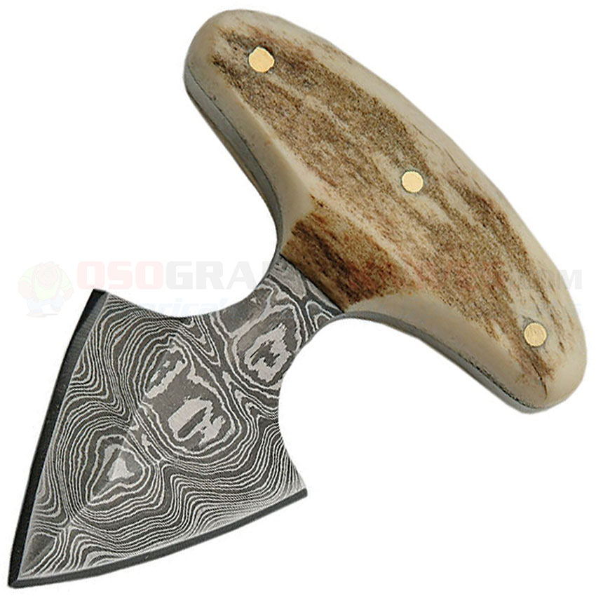 35d5dfc458 Damascus Push Dagger Fixed Blade Knife (2.0 Inch Damascus Plain Blade) Stag  Handle Leather