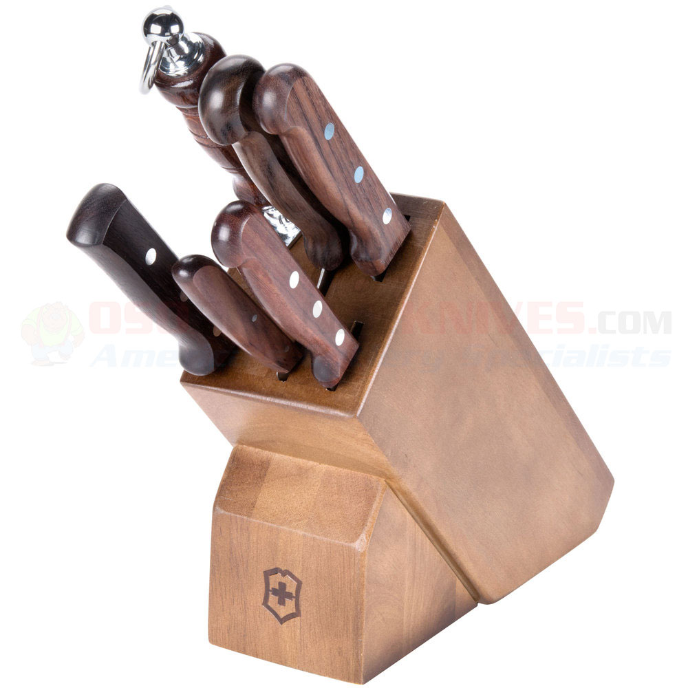 victorinox forschner 46054 hardwood block set 7 piece rosewood victorinox 46054 7 piece kitchen knife block set rosewood handles hardwood block included