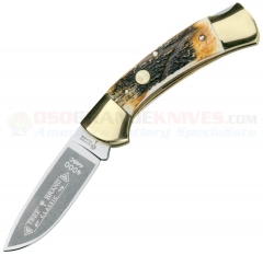 Boker Stag Hunter Lockack Folding Knife (3.25 Inch Drop Point Satin Plain Blade) Stag Handle w/ Brass Bolsters + Leather Sheath 114000