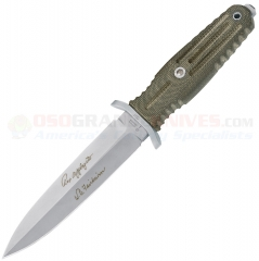 Boker 120545 A-F 5.5 Knife, Bead Blasted Double Edge Blade, Green Canvas Micarta, Glass Breaker, Tactical Sheath