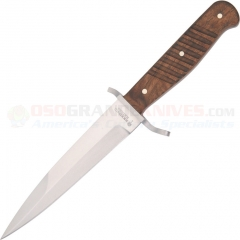 Boker Trench Knife Fixed (5.625 Inch Carbon Steel Blade) Walnut Wood Handle + Leather Sheath 121918