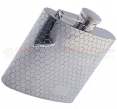 Colonel Conk 6-Ounce Flask (Stainless Steel with Honeycomb Pattern, Rimless, Polished Finish) 1007