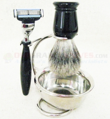 Colonel Conk Mach 3 4-Piece Shave Set (Pure Badger Brush, Razor, Stand and Bowl) 170