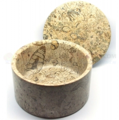 Colonel Conk Marble Fossil Large Shave Bowl with Lid (Fits Large 3.75 oz. Soap) 182F