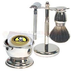 Colonel Conk 190 Safety Razor 5-Piece Shave Set (Chrome with Long Handled Razor #180, Pure Badger Brush, Chrome Stand, Bowl and Soap)