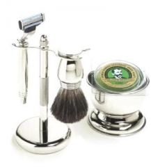 Colonel Conk 196 Mach 3 5-Piece Chrome Bowl Shave Set, Chrome Stand, Pure Badger Brush, Razor and Soap