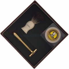 Colonel Conk Mach 3 3-Piece Shave Set (Pure Badger Brush, Gold Tone Razor and Soap) 233-M