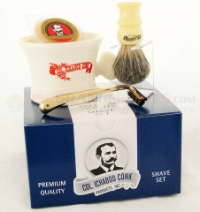 Colonel Conk 236-M Mach 3 4-Piece Shave Set, Apothecary Mug, Boar Bristle Brush, Gold Tone Razor and Soap