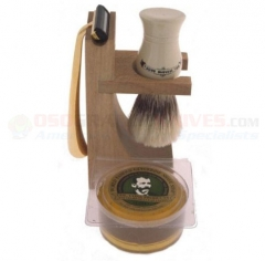 Colonel Conk 237 Double Track 4-Piece Hardwood Stand Shave Set with Boar Bristle Brush, Gold Tone Razor and Soap