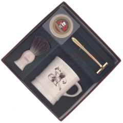 Colonel Conk 240-M Mach 3 4-Piece Shave Set, A Shave Mug, Pure Badger Brush, Gold Tone Razor and Soap
