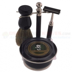 Colonel Conk Double Track 5-Piece Shave Set (Black & Chrome with Boar Bristle Brush) Razor and Soap 243
