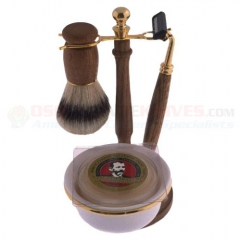 Colonel Conk Double Track 5-Piece Shave Set (Wood with Boar Bristle Brush) Razor and Soap CC244