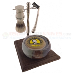 Colonel Conk Double Track 5-Piece Santa Fe Bowl Shave Set (Chrome & Wood Stand with Boar Bristle Brush) Razor and Soap CC249