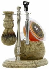 Colonel Conk 250-CHRM Mach 3 Marble Fossil 5-Piece Hand Crafted Shave Set with Bowl, Chrome Stand, Chrome Razor, Pure Badger Brush and Soap