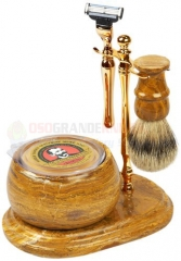 Colonel Conk 250-GOLD Mach 3 Marble Fossil 5-Piece Hand Crafted Shave Set with Bowl, Gold Stand, Gold Razor, Pure Badger Brush and Soap