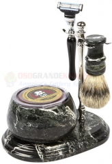 Colonel Conk Mach 3 Marble Zebra 5-Piece Hand Crafted Shave Set (Shaving Bowl + Chrome Stand + Chrome Mach3 Razor + Pure Badger Brush + Soap) CC251-B/C