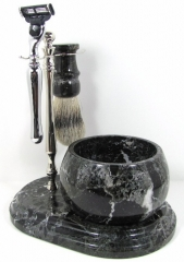 Colonel Conk Mach 3 Marble Zebra 5-Piece Hand Crafted Shave Set (Shaving Bowl + Chrome Stand + Chrome Mach3 Razor + Pure Badger Brush + Soap) CC251-CHRM