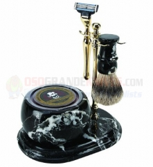 Colonel Conk 251-GOLD Mach 3 Marble Zebra 5-Piece Hand Crafted Shave Set with Bowl, Gold Stand, Gold Razor, Pure Badger Brush and Soap