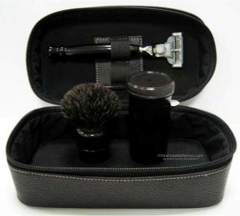Colonel Conk 4 Mach 3 3-Piece Travel Set with Razor, Pure Badger Hair Brush and Black Leather Case, China
