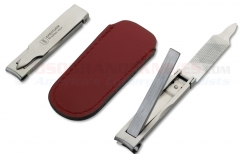 Dreiturm Nail Clipper (INOX Stainless Steel Folding Finger Nail Clippers) Leather Case | Germany CC505