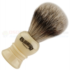 Colonel Conk Silver Tip Badger Shave Brush (4.5 Inches Tall) Faux Ivory Handle CC910