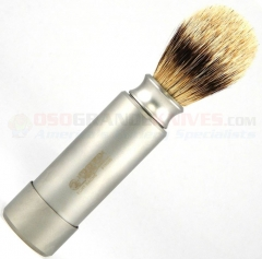 Dovo Silver Tipped Badger Travel Shave Brush (Carbon Steel, Nickel Plated Case) 918