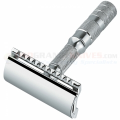 Merkur Travel Safety Razor Straight Bar (Collapses into Leather Case, Chrome Finish) 933 000