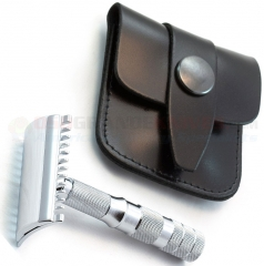 Merkur Travel Safety Razor Open Tooth Comb (Collapses into Leather Case, Chrome Finish) 985 000