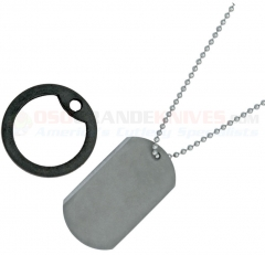 Dog Tag Titanium Survival Knife Tool (2.0 Inch Titanium Blade) Black Rubber Frame DT001