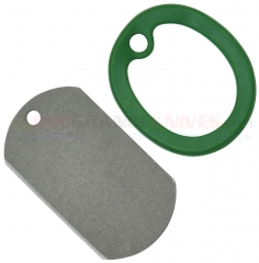 Dog Tag 001G Titanium Self Defense Knife, Green Ring