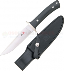 Al Mar Knives SVBM Shiva Fixed (5.25 Inch VG10 Satin Plain Blade) Black Micarta Handle + Black Leather Sheath SV-BM