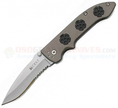 Columbia River CRKT Crawford Wild Weasel Spring Assisted Folding Knife (3.275 Inch 154CM Bead Blast Combo Blade) Aluminum Handle 1011A