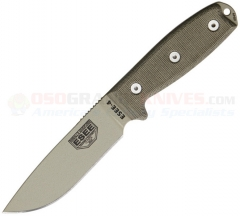 ESEE Knives Model 4 Desert Tan Fixed (4.50 Inch 1095HC Plain Drop Point Blade) Green Micarta Handle w/ Rounded Pommel + Black Polymer Sheath 4PMBDT