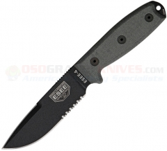 ESEE Knives Model 4 Black Fixed (4.50 Inch 1095HC Combo Drop Point Blade) Gray Micarta Handle w/ Rounded Pommel + Black Polymer Sheath 4SCPMB