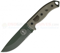 ESEE Knives Model 5 OD Green 1095HC ComboEdge Blade, Gray Micarta Handles, Knife Only-No Sheath