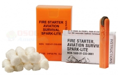Spark-Lite Aviation/Military Survival Firestarter Kit with 8 TinderQuik Tabs (Flourescent Orange)