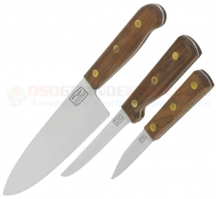 Chicago Cutlery 13305 Walnut 3 Piece Knife Set (Chef + Utility + Paring Knife)