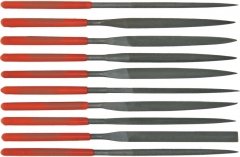 Steel X D2868 Needle Nose File Set, 10-Piece, Red Plastic Handles