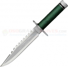 Rambo First Blood Miniature Sylvester Stallone Signature Knife (3.25 Inch Sawback Blade) Hollow Cord Wrapped Handle RBM1SS